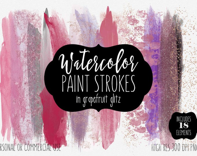 WATERCOLOR PAINT STROKES Clipart Commercial Use Clip Art 18 Watercolor Brush Strokes Pink Mauve Rose Gold Confetti Textures Logo Graphics
