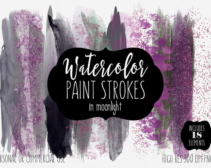WATERCOLOR PAINT STROKES Clipart Commercial Use Clip Art Watercolor Brush Strokes Purple Pink Navy Glitter Confetti Textures Logo Graphics