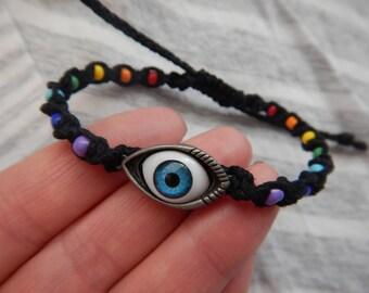 Chakra Bracelet,Hemp Bracelet,Chakra Jewelry,Eye Charm,Spiritual Jewelry,Inspirational Jewelry,Chakra Colors,Yoga,Yoga Jewelry,Hemp Jewelry