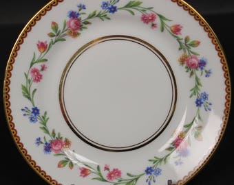 French Limoges Bread and Butter Plate from Raynaud & Co.  Mixed Floral Pattern with Gold Trim.  6''  (CGP-1584)