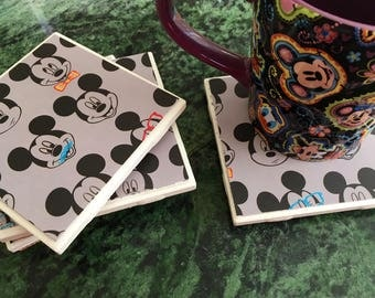 Disney Mickey Mouse Coasters Set of 4 Tile coasters 4 x 4