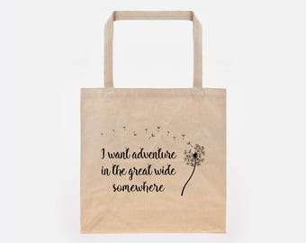 Beauty & the Beast | I Want Adventure in the Great Wide Somewhere | Belle | Bell Book | Canvas Tote Bag | Great Wide Somehwere