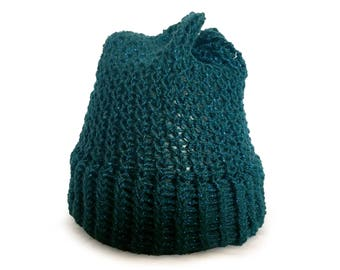Green Sparkle Knitted Slouch Hat - Adult Ready to Ship Knitted Beanie