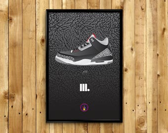 """Air Jordan 3 III """"Cements"""" Poster Print"""