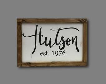 Custom name sign, farmhouse, last name home decor