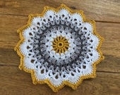 Hand crochet mandala table mat 18cm