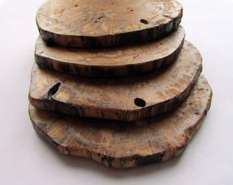 Natural Driftwood Coasters, Set of 4 Rustic Wood Slice Coasters, Wooden Coasters, (driftwood art, driftwood decor),
