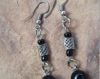 Black silver,small,light,simple,elegant,modern,fashion,stylish,beaded,handmade,xmas,new year,holiday,birthday,friend,dangle drop,earrings