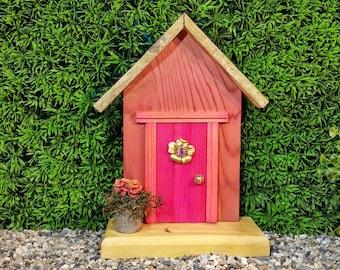 Pink Fairy Door with Vintage Bling Window