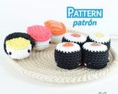 Plato de sushi, sushi crochet, patrón sushi, amigurumi, patrón amigurumi, comida amigurumi, patrón maki, patrón nigiri, sushi amigurumi