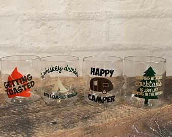 Gift for campers, Camping cocktail glasses, drink glasses, camping drink glasses, camping gift, camping lovers gift, camping