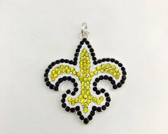 New Orleans Saints Rhinestone Charm - Chunky Bubblegum - Fleur De Lis Pendant