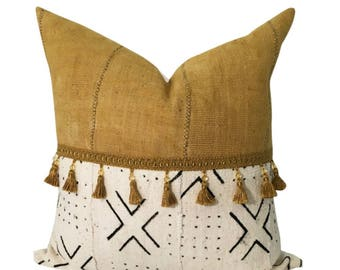Gold Mud Cloth Pillow, Authentic Mud Cloth, African Fabric Pillow, Boho Pillow, Yellow Pillow, Tassels on Pillow