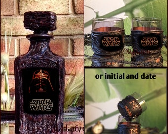 Gift for men~Scotch~Darth Vader~Just Married~Custom Decanter set~Star Wars Whiskey decanter~Personalized Whiskey Decanter~Anniversary gift
