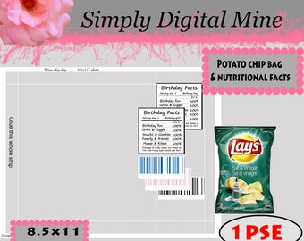 YOU Design!!! Potato chip bag Templates!!  With barcodes and nutritional facts for both boys and girls!!  DELUX!!