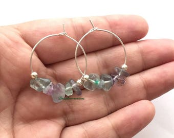 Silver Plated Hoop Earrings Natural Stone Fluorite Beads Hoops