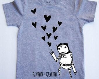 "ROBOT LOVE"" Baby/Toddler Tee (Heather Grey)"