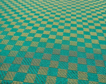 "Check Embroidery, Green Fabric, Dress Material, Sewing Fabric, Jacquard Fabric, 44"" inch Brocade Fabric By The Yard ZB225A"