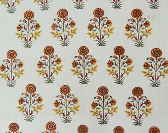 "Quilt Fabric, Crafting, White Pillow Curtain Fabric, Floral Print, Sewing Fabric, 43"" Inch Cotton Fabric By The Yard ZBC8502E"