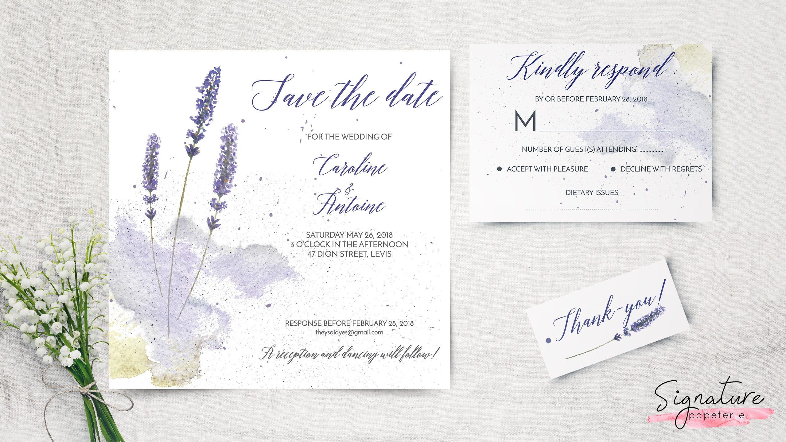 LAVANDULA Collection Lavender Wedding Invitation RSVP Card