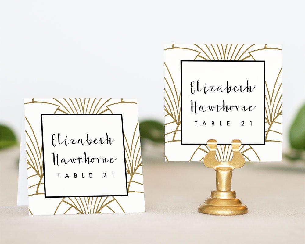 Art Deco Wedding Place Card Printable Wedding Escort Card