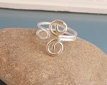 Adjustable wire ring, Silver scroll ring, swirl wire work ring, silver gift for her, UK ring jewellery, wire wrap ring, spiral silver ring