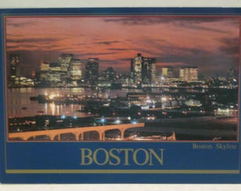 Boston Skyline Evening View from Logan Airport Postcard