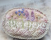Oval meadow brooch, embroidered brooch, stitches and lace, silk and lace, flower brooch, textile brooch, wild meadow