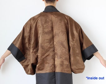 Dark grey men's kimono jacket, Haori men, jacket men, Japanese kimono, mans jacket, silk jacket, gift for him /1991