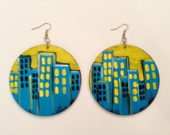 3in Large Hand Painted Cityscape Earrings