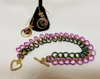 Mardi Gras Chain Maille Bracelette/Earring set