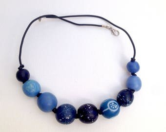 jewelry Beads for jeans Blue beads Wooden beads eco beads eco necklace wooden beading beaded necklaces blue wood necklace mother gift sister