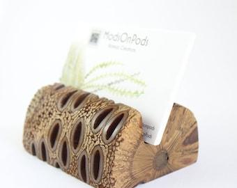 Business card holder - wood card holder, desk accessories, business card stand, corporate gift, custom card holder, australian gift, banksia