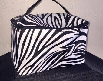 Zebra stripe large cosmetic bag