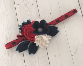 Felt flower headband , felt headband , felt flowers , elastic headband , headband , patriotic headband , red white blue headband
