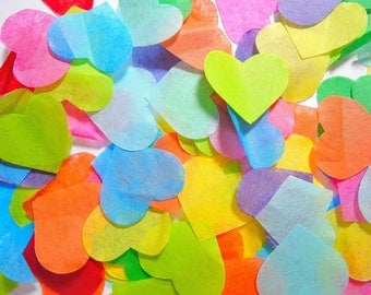 Multi-colored heart confetti - stain not - 25 handles (handmade)