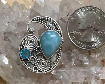 Larimar and Blue Topaz Pendant Necklace