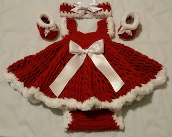 Baby Christmas Dress, Baby Valentine Dress, Red and White Dress, Crochet Dress set, Diaper covers, Baby Shoes, Baby Headbands, Baby Girls