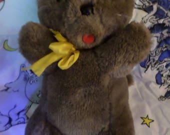 "Pamida Stores plush Cat vintage Felt tongue yellow ribbon brown kitty 12""  tail stocky round nose"