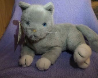 "Vintage Dakin Cat plush All gray with white paws feet Blue eyes pink nose 1994 NWWT 10"" Kitten"