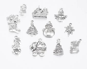 Tibetan Silver Christmas Charms Mixed - Mixed Xmas Charms - By Weight - 20 - 500 g Available. Random Mixed Christmas Charms | 0351