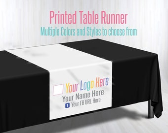 Printed Table Runner - Custom Logo Table Runner - Trade show Pop Up Party - Table Cloth