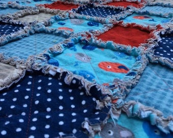 ON SALE Blue Whale Baby Blanket