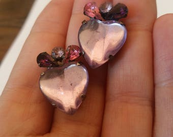 Heart Shape Screw Back Earrings (soft pink), With Clear, pink and purple rhinestones.