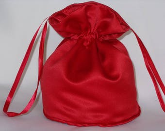Bright red satin dolly bag. Ribbon drawstring, wrist purse, wedding bag for bride/bridesmaid Bridal UK Seller