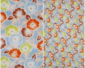 """Blue Floral Feedsack Fabric / 1930s 40s Vintage Farmhouse Full Flour Sack/ Country Living Cottage Decor/ Kawaii Quilting & Sewing: 43""""x 36"""""""