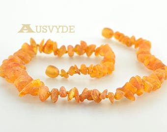 Raw Baltic amber necklace Chips Beads style, Dark cognac amber color, Baltic amber necklace for Adults. ~45 cm (17,7 inches). 1854