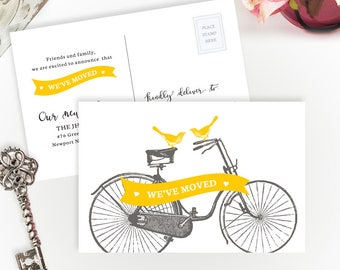 PRINTED moving announcements with vintage bicycle and birds | We're moving cards | 4X6 moving cards | Change of address cards cheap