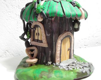 Fairy House Miniature house Handmade House Polymer clay Handmade Cute decor Indoor decor Nursery