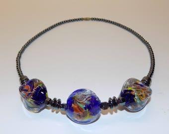 Vintage Murano Copper Aventurine Glass Bead Necklace